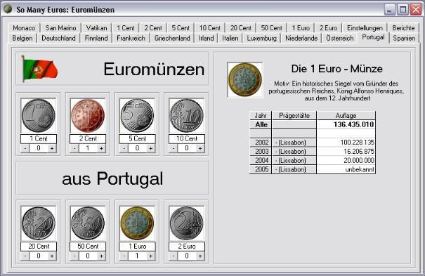 Screenshot vom Programm: So Many Euros